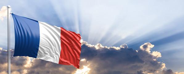 France flag on blue sky. 3d illustration