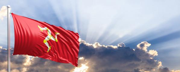 Isle of Man flag on blue sky. 3d illustration