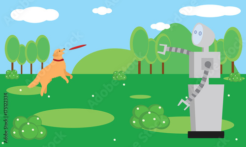 Domestic robot playing with dog at the garden  Personal