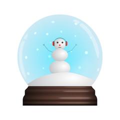 glass Snow Globe souvenir. Snowflakes, chistmas funny Snowman. Vector illustration