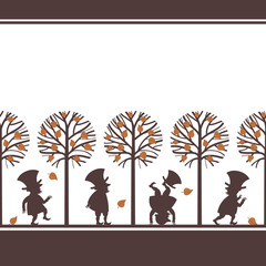 Endless border with funny gnome, leprechaun, dwarf silhouettes in fall, autumn garden, cartoon vector illustration on white background. Endless border with funny gnomes, leprechauns, paper cup design
