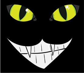 Cat's eyes and a Cheshire Smile.