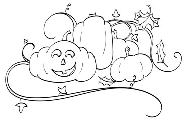 Pumpkins and a Jack-o-Lantern with pumpkin vines and falling oak and maple leaves.