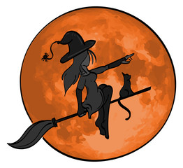 Witch with her black cat on a broomstick flying in front of a full moon.