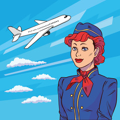 Stewardess in pop art style. Background plane takes off. Floating in clouds airplane. Welcome aboard. Vector illustration in comic style.