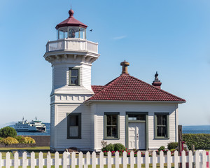 Mukilteo Lighthouse with Washington Ferry in Puget Sound