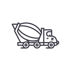 concrete mixer truck vector line icon, sign, illustration on white background, editable strokes