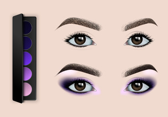 Female eyes and eyebrows before and after makeup. Set of eyeshadows. Realistic vector illustration.