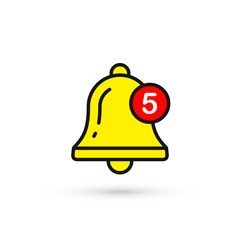Bell New Notification Icon. Vector isolated symbol