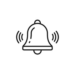 Bell outline icon vector, Alarm, handbell line isolated sign