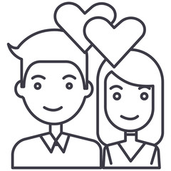 couple in love,hearts vector line icon, sign, illustration on white background, editable strokes