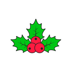 Holly berry Christmas color icon with stroke. Vector flat style illustration