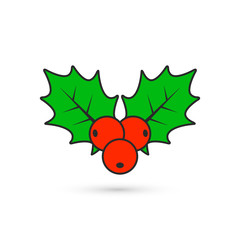 Holly berry Christmas color icon. Vector flat style illustration