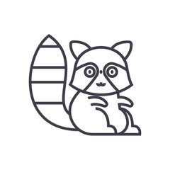 cute badger vector line icon, sign, illustration on white background, editable strokes