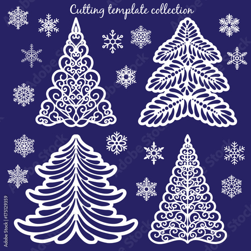 Christmas Cutout Patterns.Christmas Cutting Templates Collection Trees And Snowflakes
