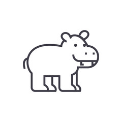 cute hippo vector line icon, sign, illustration on white background, editable strokes