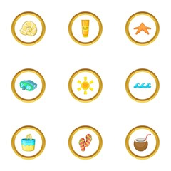 Island party icons set, cartoon style