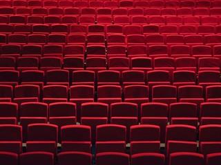 Autocollant pour porte Opera, Theatre Rangées de fauteuils rouges dans une salle de spectacle