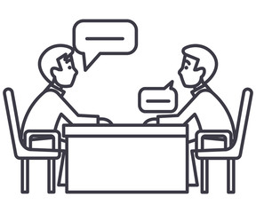 discussion of two partners,interview,questioning,examination vector line icon, sign, illustration on white background, editable strokes