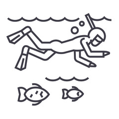 diving in the sea with fish,scuba,snorkeling vector line icon, sign, illustration on white background, editable strokes