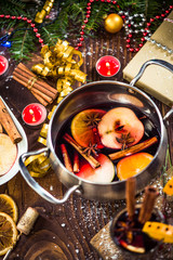 Ingredients for Christmas mulled wine in pot