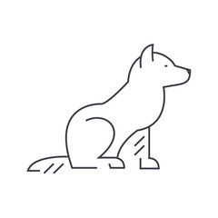 dog vector line icon, sign, illustration on white background, editable strokes