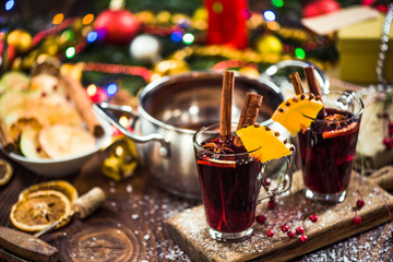 Spiced hot Christmas festive red wine