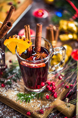 Red wine with spices, anise and cinnamon.