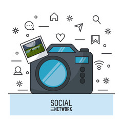 Photography and social network icon vector illustration graphic design