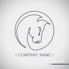 Simple modern line style logo with horse head vector illustration