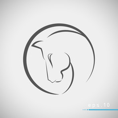 Simple modern brush style logo with horse head vector illustration