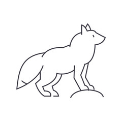 fox vector line icon, sign, illustration on white background, editable strokes