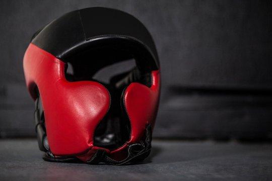 Boxing helmet in fitness studio