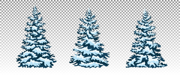 Set: Winter forest. Christmas trees in the snow. Eps 10 Vector. Christmas decor.