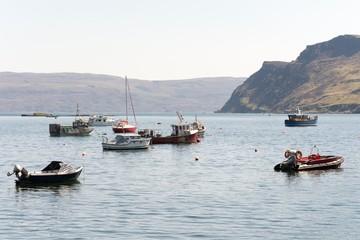 Boats on Loch Portree, Isle of Skye. Scotland