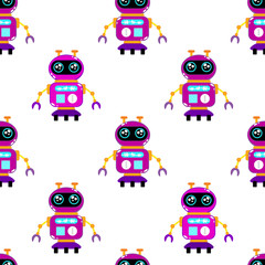 A cute, small, friendly orange robot, with antennas and buttons on the breastplate, claws, good vintage eyes and comic-letter labels. Abstract seamless pattern for girls or boys. Creative vector print