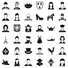 Portrait icons set, simle style