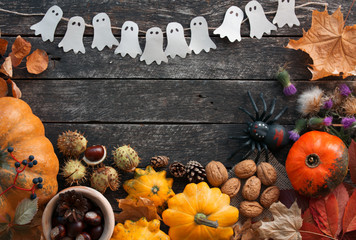 Halloween table ornament decoration. space for text
