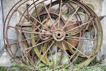 old wooden wheels of a wagon