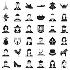 Male icons set, simle style