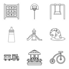 Childrens community icons set, outline style