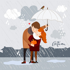 Couple in the rain, autumn vector illustration