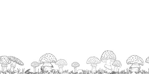 Seamless border with hand drawn mushrooms on the transparent background