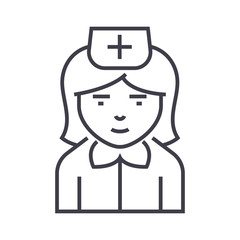 nurse sign vector line icon, sign, illustration on white background, editable strokes