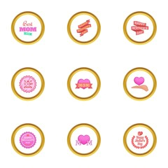 Best mom ever icons set, cartoon style