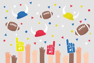 Stadium crowd. Raised hands wearing foam fingers. American football fans / flat editable vector illustration, clip art