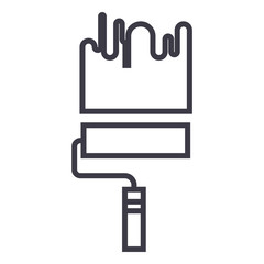 painting,paint roller vector line icon, sign, illustration on white background, editable strokes