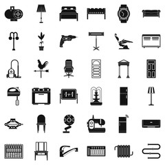 Home equipment icons set, simple style