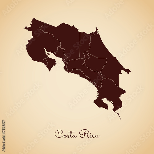 Costa Rica region map: retro style brown outline on old paper ...