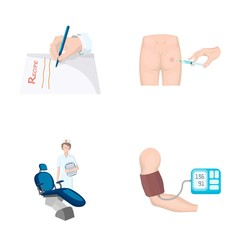 Intramuscular injection, prescription, Dentist, blood pressure measurement. Medicineset collection icons in cartoon style vector symbol stock illustration web.